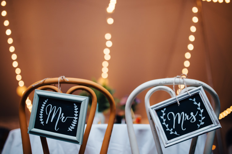 Reception Bride Groom Chairs DIY Blackboard Signs Fairy Lights Florals Adventure Inspired Woodland Wedding North Carolina http://www.amandasuttonphotography.com/