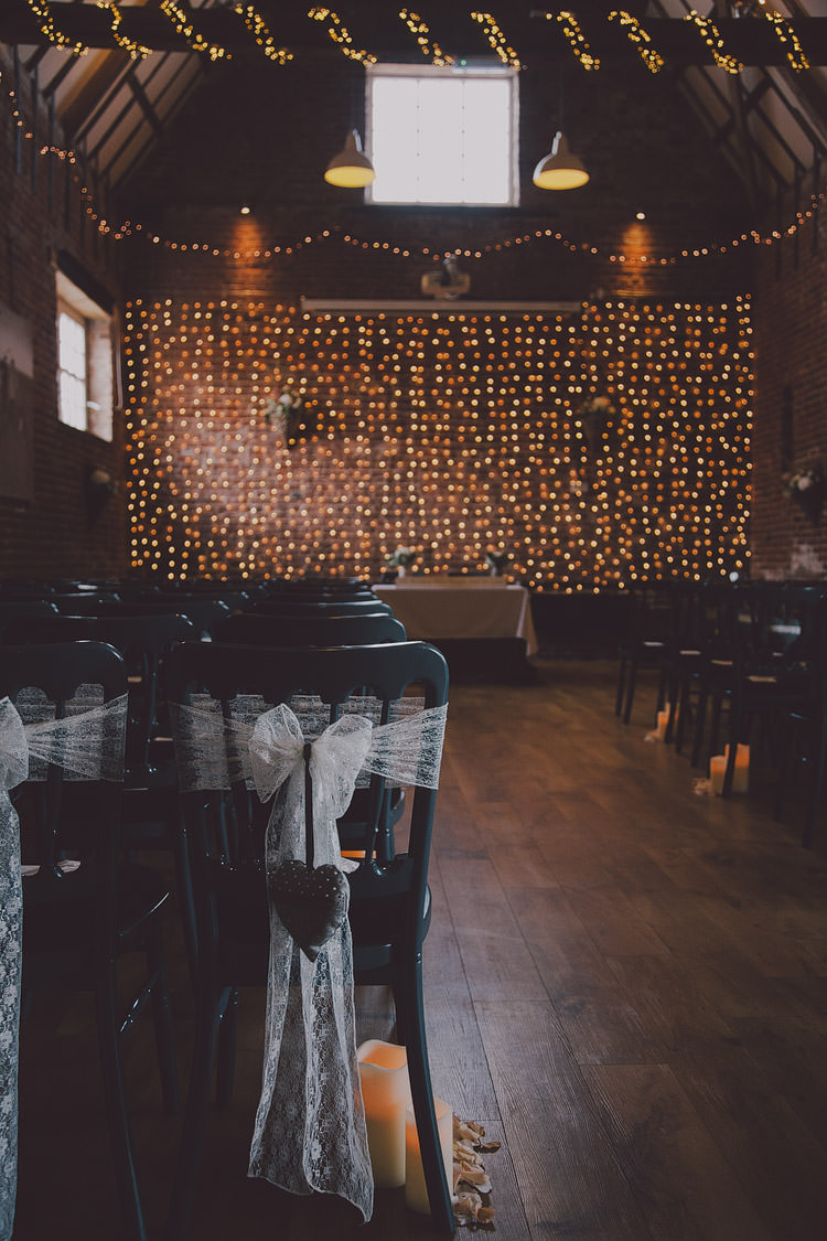 Fairy Lights Ceremony Chic Rustic Grey Barn Wedding http://www.kevelkinsphotography.co.uk/