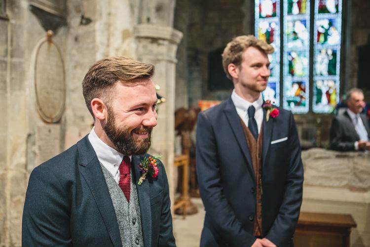 Ted Baker Groom Harris Tweed Waistcoat Relaxed Cosy Stylish Autumnal Wedding http://www.tierneyphotography.co.uk/