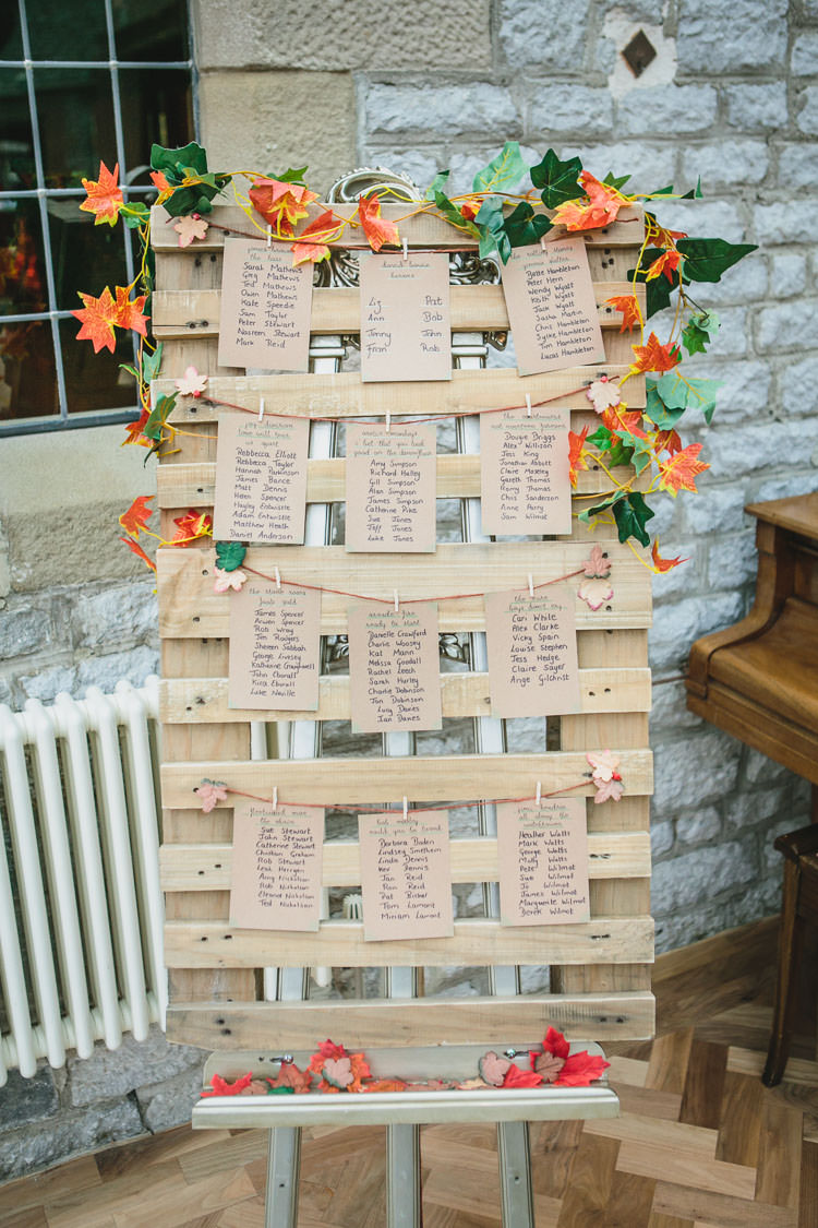 Table Plan Autumn Leaves Rustic Pallet Relaxed Cosy Stylish Autumnal Wedding http://www.tierneyphotography.co.uk/