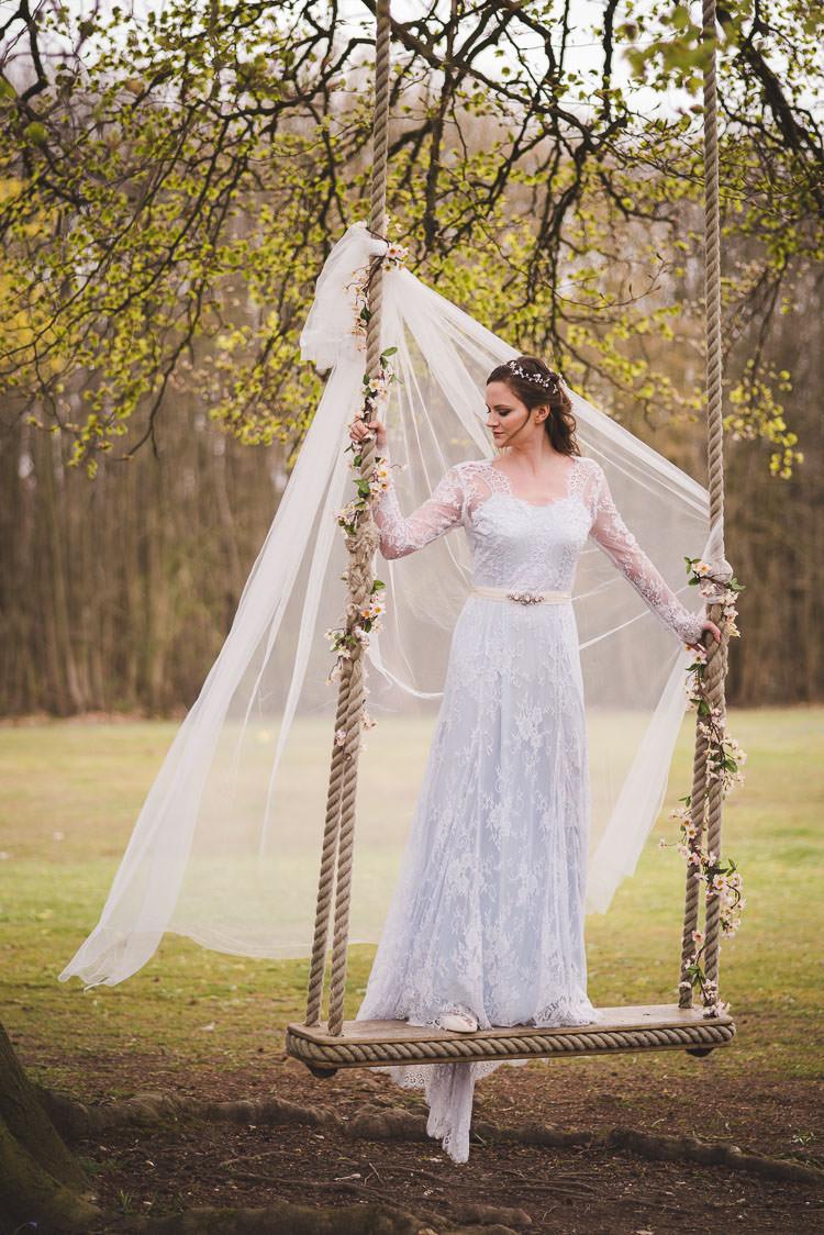 Katya Katya Shehurina Blue Lace Dress Gown Sleeves Magical Spring Bluebell Woodland Wedding Ideas http://helinebekker.co.uk/