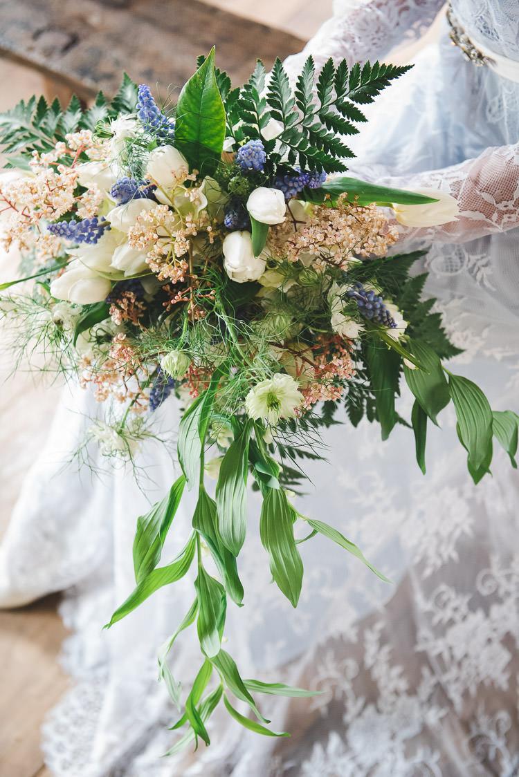 Bouquet Flowers Bride Bridal Tulip Fern Greenery Magical Spring Bluebell Woodland Wedding Ideas http://helinebekker.co.uk/