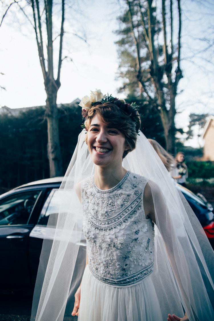 Needle & Thread Separates Flower Crown Bridal Veil Heartwarming Festive Winter Wedding http://www.nikkivandermolen.com/