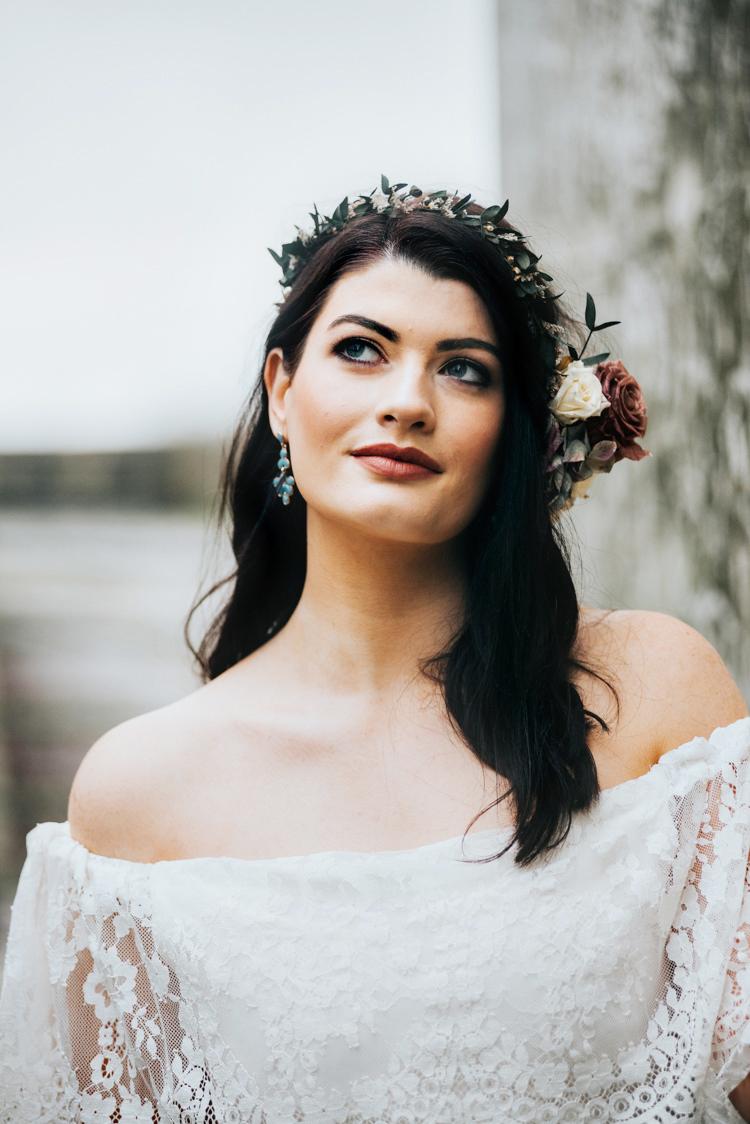 Flower Crown Headdress Bride Bridal Make Up Bohemian Mermaid Wedding Ideas https://www.elizaclaire.com/
