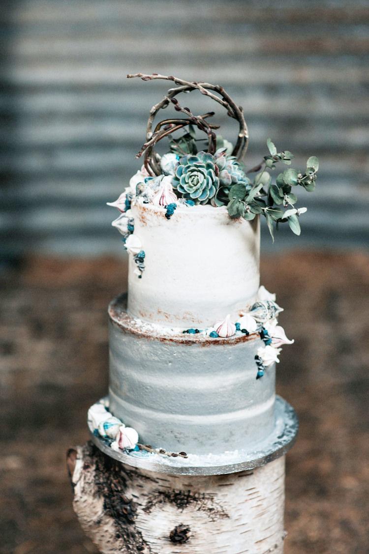 Cake Whimsical Iced Grey White Succulent Bohemian Mermaid Wedding Ideas https://www.elizaclaire.com/