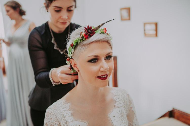 Flower Crown Bride Bridal Feather Autumn Weekend Extravaganza Tipi Wedding http://bloomweddings.co.uk/