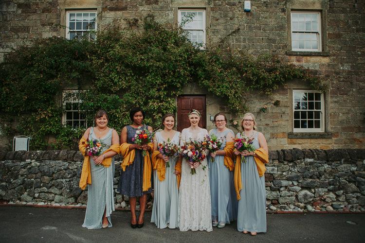 Mismatched Grey Bridesmaid Dresses Autumn Weekend Extravaganza Tipi Wedding http://bloomweddings.co.uk/