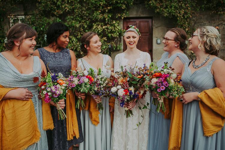 Mismatched Grey Bridesmaid Dresses Yellow Pashminas Autumn Weekend Extravaganza Tipi Wedding http://bloomweddings.co.uk/