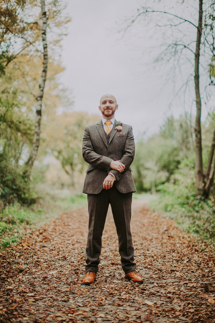 Brown Tweed Suit Groom Autumn Weekend Extravaganza Tipi Wedding http://bloomweddings.co.uk/