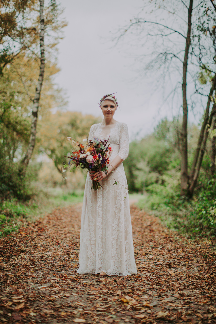 Patchouli Claire Pettibone Dress Bride Bridal Gown Lace Sleeves Autumn Weekend Extravaganza Tipi Wedding http://bloomweddings.co.uk/