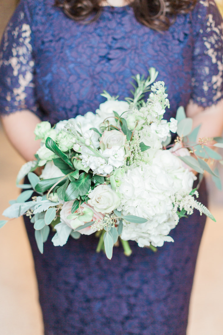 Bridesmaid Bouquet Flowers White Cream Hydrangea Rose Foliage Greenery Whimsical Elegant Classic Wedding http://katymelling.com/