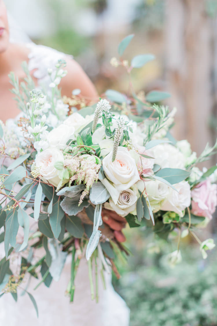 Bouquet Flowers Bride Bridal Pink Rose White Cream Foliage Greenery Whimsical Elegant Classic Wedding http://katymelling.com/