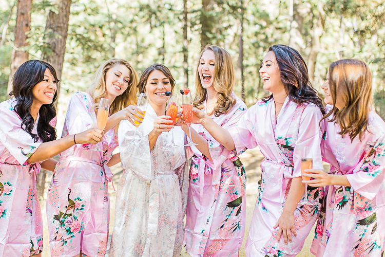 Bride Cream Floral Robe Bridesmaids Pink Floral Robes Champagne Toast DIY Whimsical Camp Wedding California http://www.landbphotography.org/