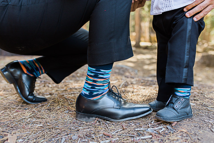Groom Multicoloured Patterned Socks Son Matching Multicoloured Patterned Socks DIY Whimsical Camp Wedding California http://www.landbphotography.org/