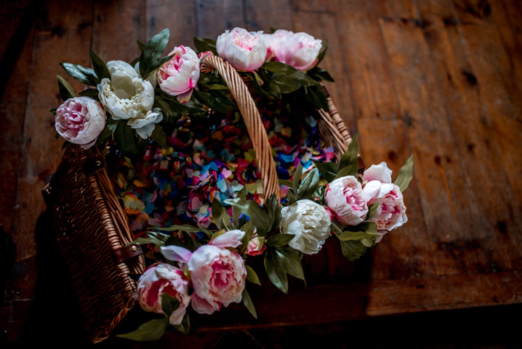 Confetti Basket Peonies Quirky English Garden Party Wedding http://www.michellewoodphotographer.com/