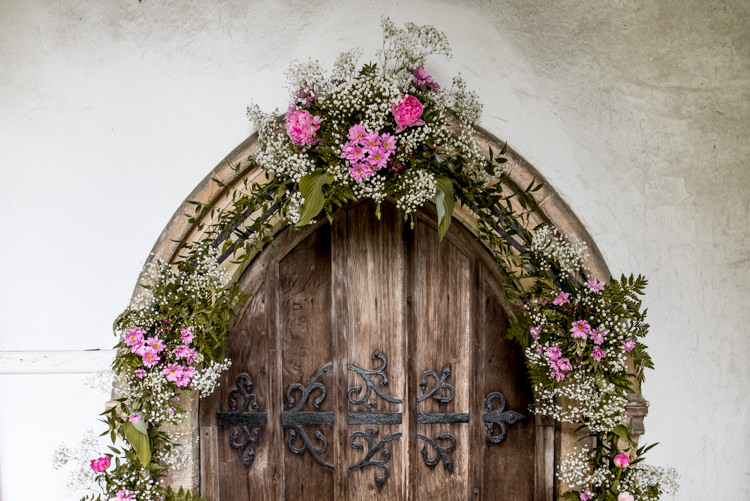 Arch Flowers Church Pink Quirky English Garden Party Wedding http://www.michellewoodphotographer.com/