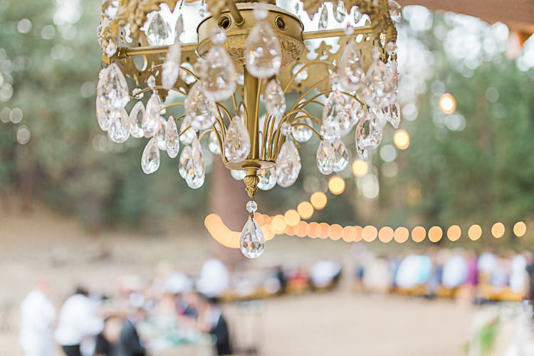 Reception Chandelier Hanging Fairy Lights Guests DIY Whimsical Camp Wedding California http://www.landbphotography.org/