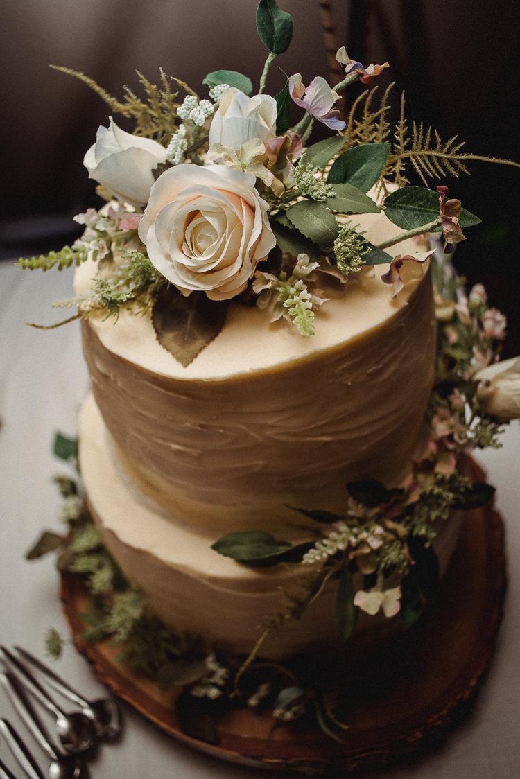 Cake Iced Buttercream Flowers Rustic Bohemian Festival Tipi Wedding http://esmemai.com/