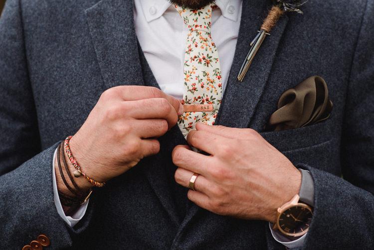 Groom Tie Pin Personalised Rose Gold Ring Bohemian Festival Tipi Wedding http://esmemai.com/