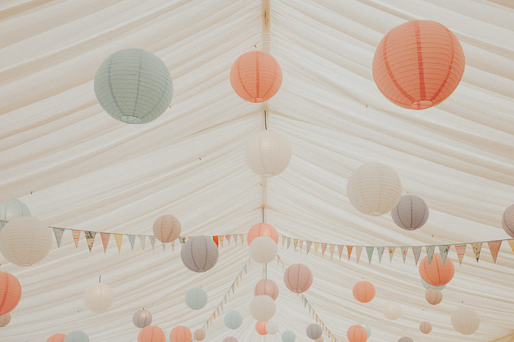 Pastel Pink Lanterns Bunting Beautiful Flowery Country Marquee Wedding http://www.maddiefarrisphotography.co.uk/