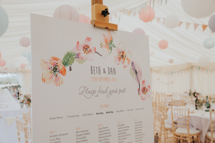 Floral Seating Plan Chart Table Pastel Beautiful Flowery Country Marquee Wedding http://www.maddiefarrisphotography.co.uk/