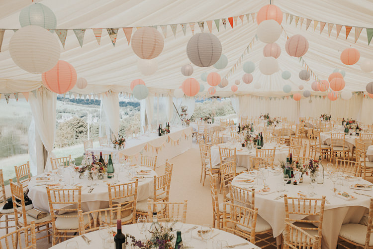 Pink Lanterns Bunting Pretty Beautiful Flowery Country Marquee Wedding http://www.maddiefarrisphotography.co.uk/