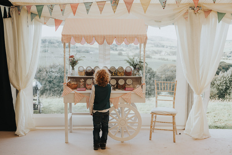 Sweets Sweetie Table Cart Beautiful Flowery Country Marquee Wedding http://www.maddiefarrisphotography.co.uk/