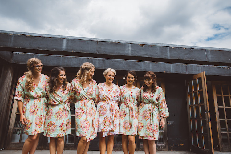 Bride Bridesmaids Floral Dressing Gowns Cotswolds Country House Marquee Wedding http://www.wearegatheredheretoday.com/