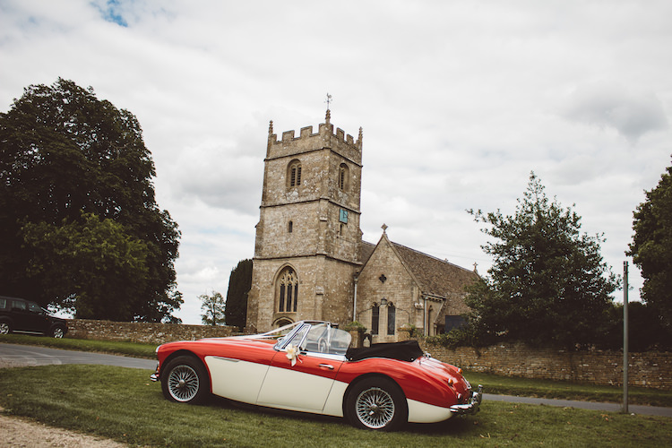 Classic Car Red Cream Convertable Cotswolds Country House Marquee Wedding http://www.wearegatheredheretoday.com/