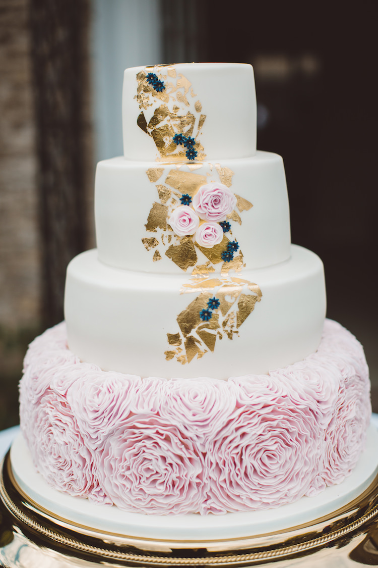 Pink Ruffle Gold Leaf Cake Cotswolds Country House Marquee Wedding http://www.wearegatheredheretoday.com/