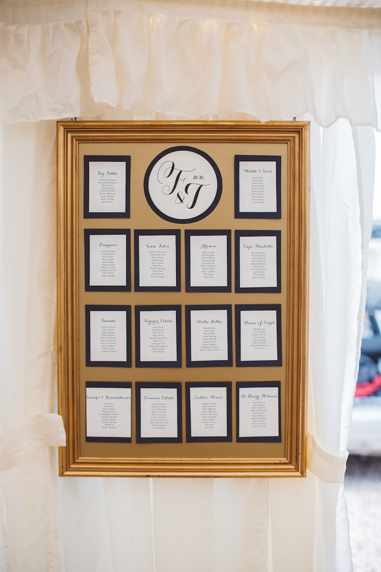 Navy Graphic Logo Frame Seating Plan Table Chart Cotswolds Country House Marquee Wedding http://www.wearegatheredheretoday.com/