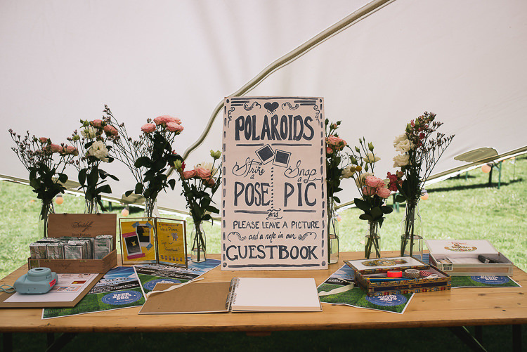 Polariod Guest Book Relaxed Outdoor City Park Festival Wedding http://kristianlevenphotography.co.uk/