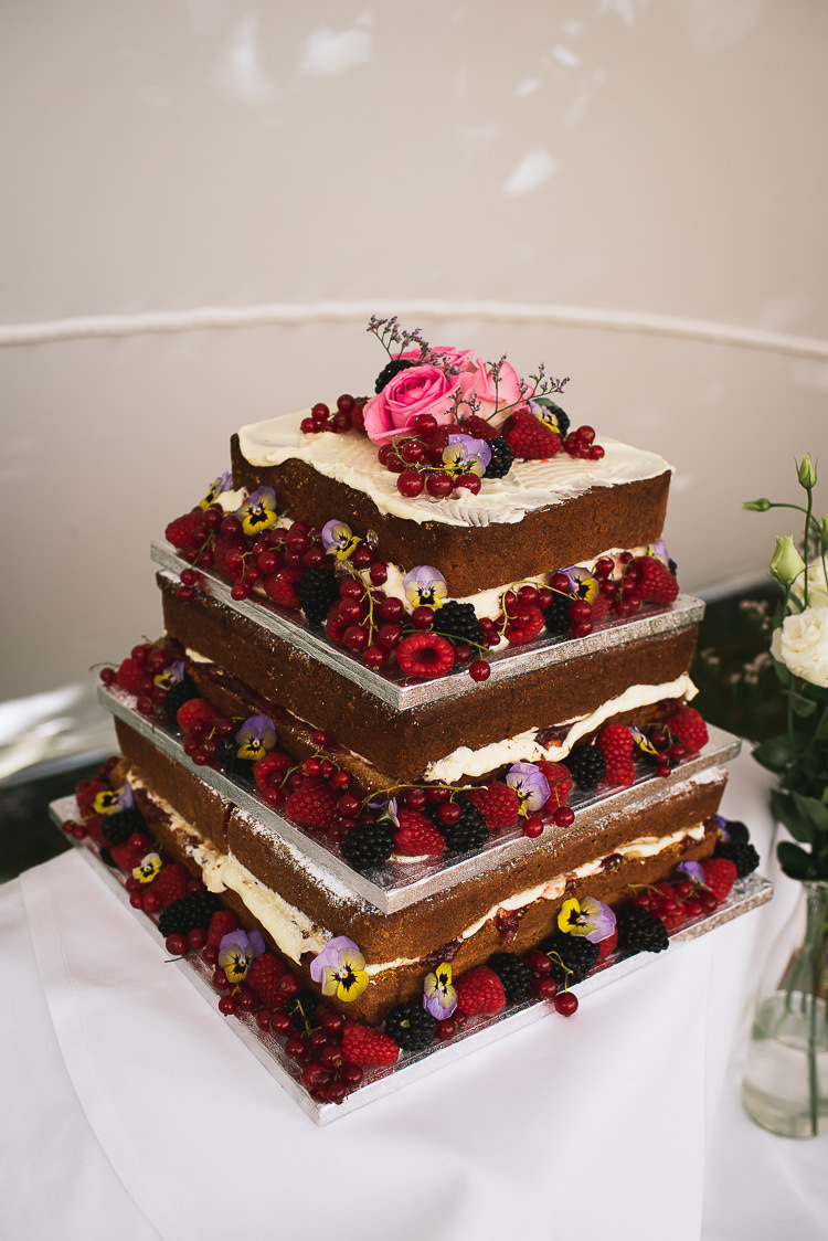 Naked Cake Layer Sponge Fruit Cream Relaxed Outdoor City Park Festival Wedding http://kristianlevenphotography.co.uk/