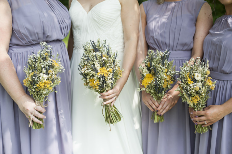 Dried Flowers Bouquets Bridesmaids Whimsical Summery Lilac Wedding http://eleanorjaneweddings.co.uk/