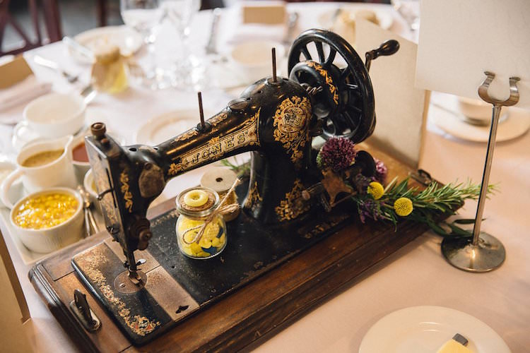 Singer Sewing Machine Centrepiece Decor Sweet Quirky Yellow Antique Wedding https://www.redonblonde.com/