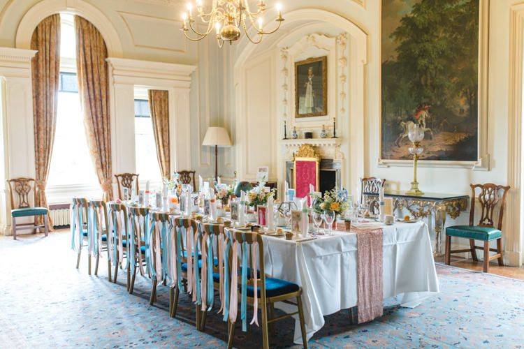 Ribbon Chairs Decor Whimsical Pastel Travel Wedding https://www.thegibsonsphotography.co.uk/