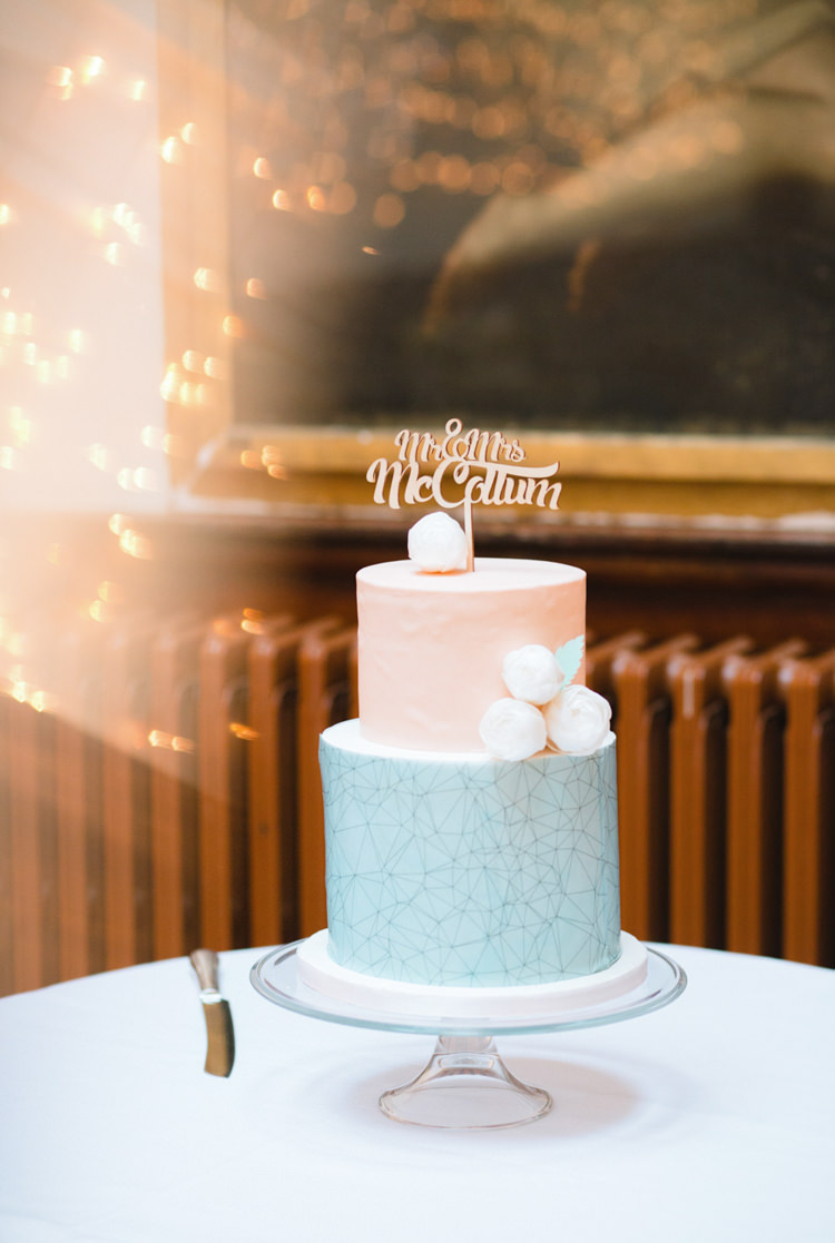 Pink Blue Cake Geometric Flower Whimsical Pastel Travel Wedding https://www.thegibsonsphotography.co.uk/
