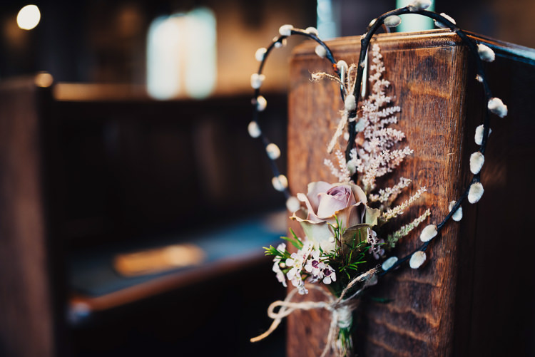 Branch Heart Flowers Pew Ends Pink Quirky Stylish Country House Wedding http://www.stevebridgwoodphotography.co.uk/
