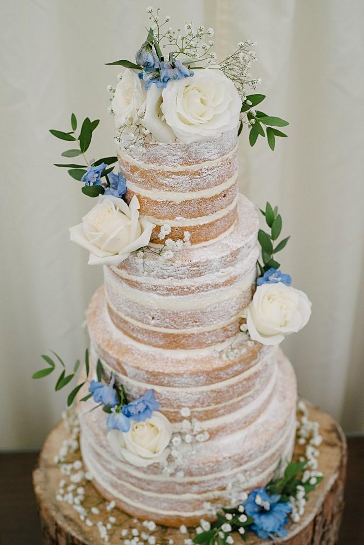 Naked Cake Rustic Pretty Pale Blue Summer Wedding http://www.georginabrewster.com/