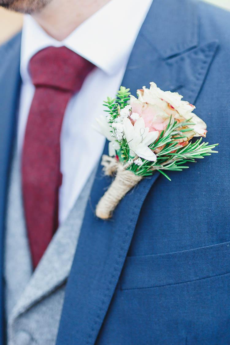 Buttonhole Groom Rosemary Rose Twine Beautiful Rustic Fairy Lights Barn Wedding http://whitestagweddings.com/