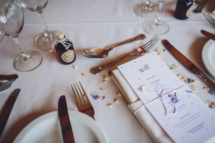 Tablescape Table Setting petals Details Blush Navy DIY Tipi Wedding Home http://www.kategrayphotography.com/