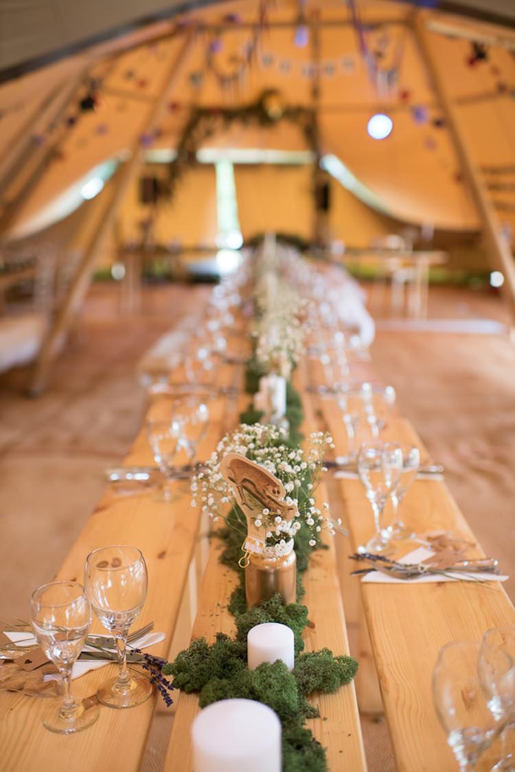 Tipi Long Table Rustic Decor Moss Runner Flowers Informal Camp Woodland Wedding https://stevenanthonyphotography.co.uk/