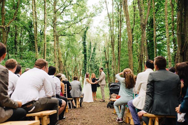 UK Outdoor Ceremony Woods Forest Informal Camp Woodland Wedding https://stevenanthonyphotography.co.uk/