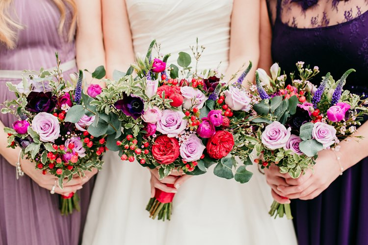Bride Bridesmaids Bridal Bouquet Rose Eucalyptus Jewel Tone Berry Fun Colourful Modern Music Wedding http://hollycollingsphotography.com/