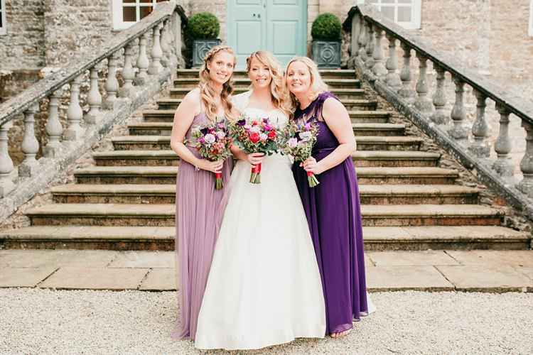 Bride Bridal Bridesmaids Purple Pink Ivory & Co A-Line Fun Colourful Modern Music Wedding http://hollycollingsphotography.com/