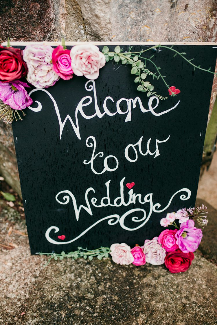 Welcome Chalk Board Sign Rose Fun Colourful Modern Music Wedding http://hollycollingsphotography.com/