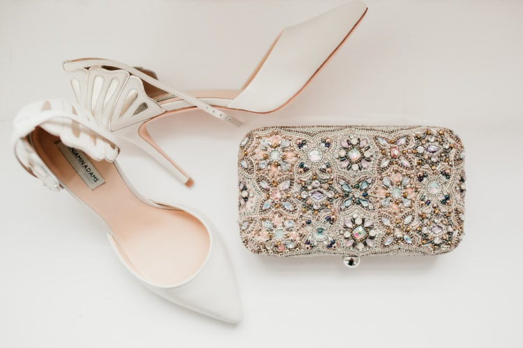 Bride Bridal Benjamin Adams Shoes Stiletto Jewelled Clutch Fun Colourful Modern Music Wedding http://hollycollingsphotography.com/