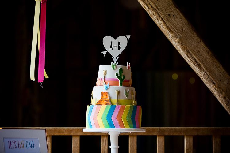 Rainbow Chevron Cake Quirky Cool Fun Multicolour Creative Barn Wedding http://www.mattparryphotography.co.uk/