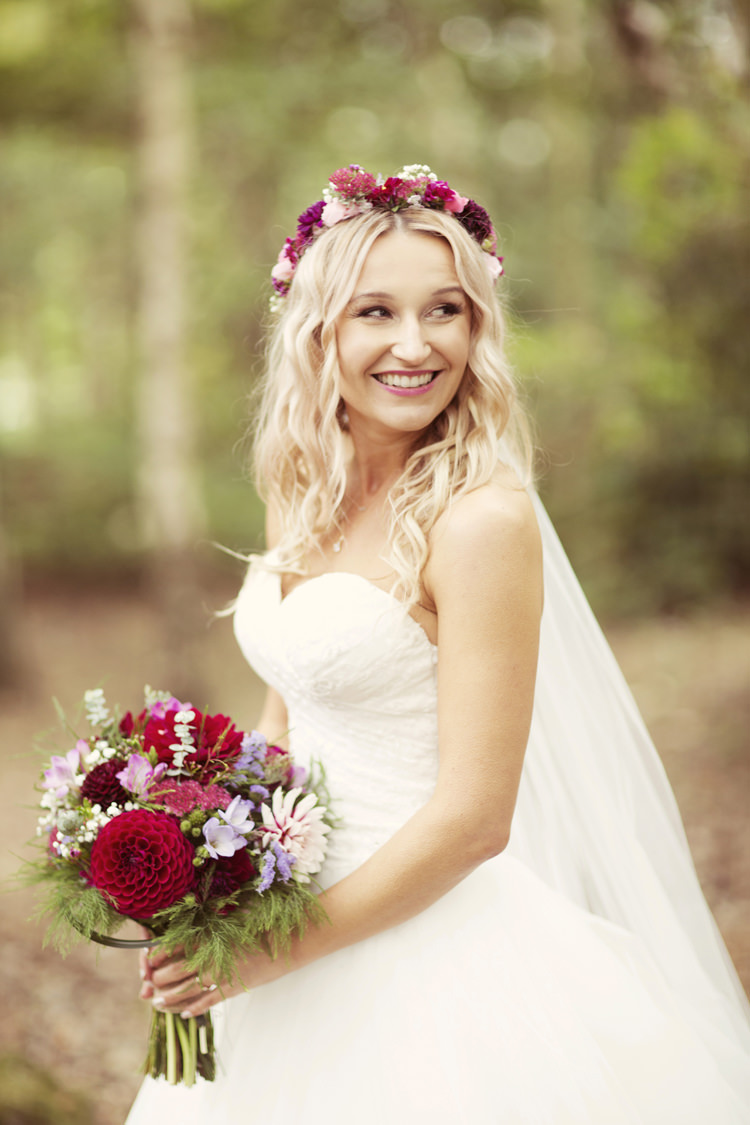 Flower Crown Bouquet Dahlia Bride Bridal Princess Dress Whimsical Woodland Autumn Wedding http://www.rebeccaweddingphotography.co.uk/
