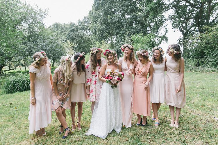 Mismatched Bridesmaids Pink Dresses Creative Cool Bohemian Harbourside Wedding http://carohutchings.com/